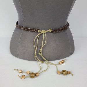 Brown Rope Beaded Belt Size S